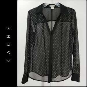 Cache Woman Sheer Button Front Blouse Size Small